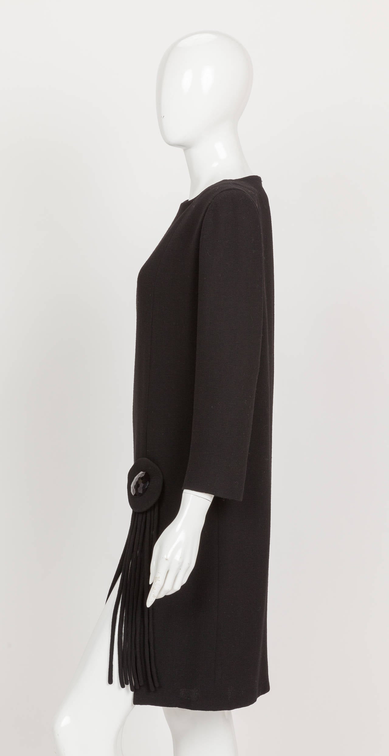 Pierre Cardin Haute Couture Black Wool Cocktail Dress w/Thigh High Slit ca. 1992 5