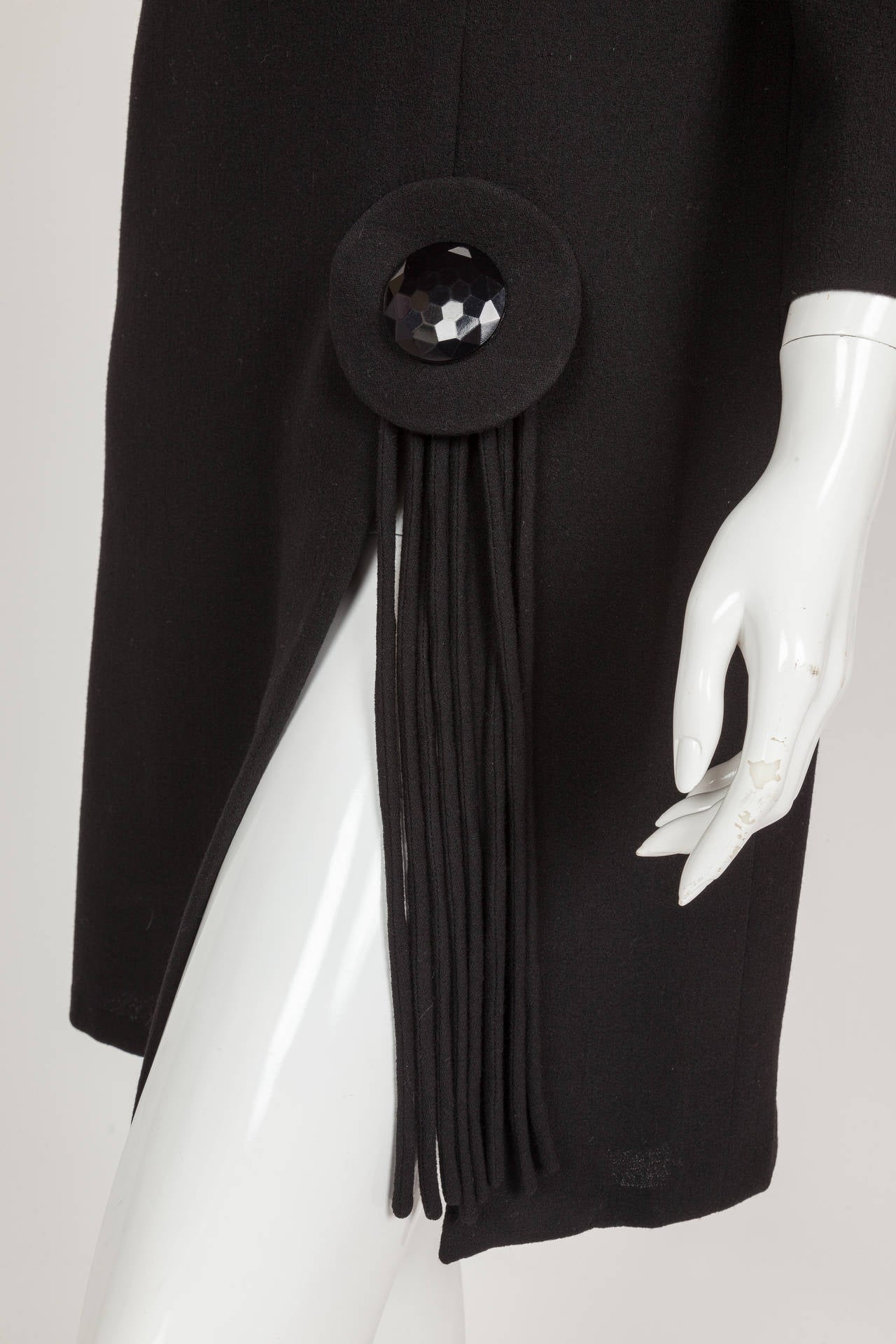 Pierre Cardin Haute Couture Black Wool Cocktail Dress w/Thigh High Slit ca. 1992 7