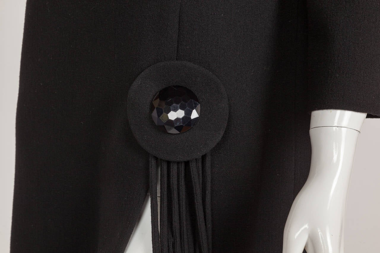 Pierre Cardin Haute Couture Black Wool Cocktail Dress w/Thigh High Slit ca. 1992 8