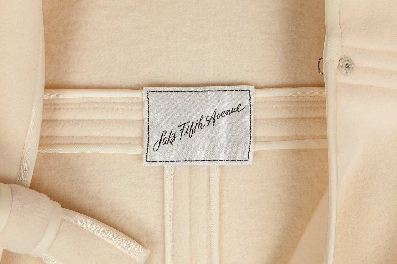 1960s Pierre Cardin A-Line Creme Melton Wool Coat w/Bow and Silky Trim 9