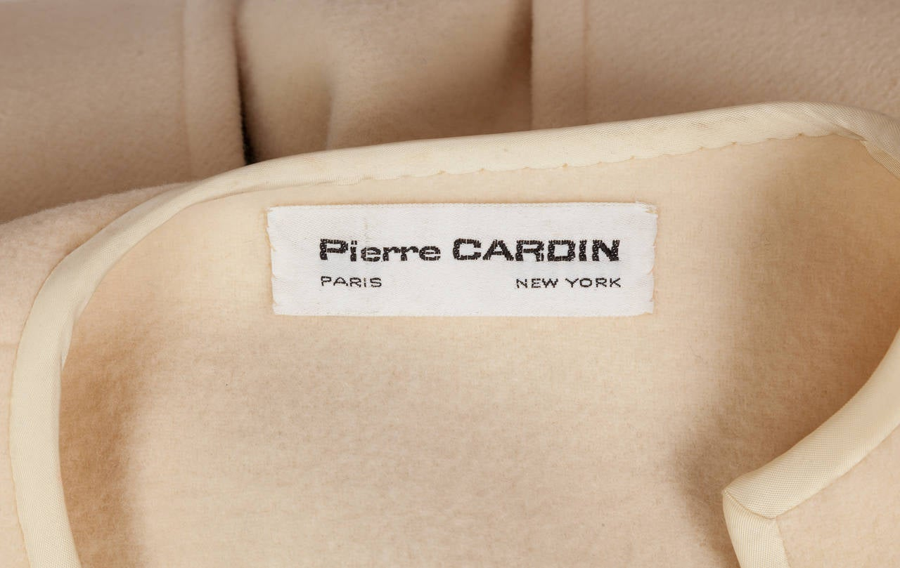 1960s Pierre Cardin A-Line Creme Melton Wool Coat w/Bow and Silky Trim 10
