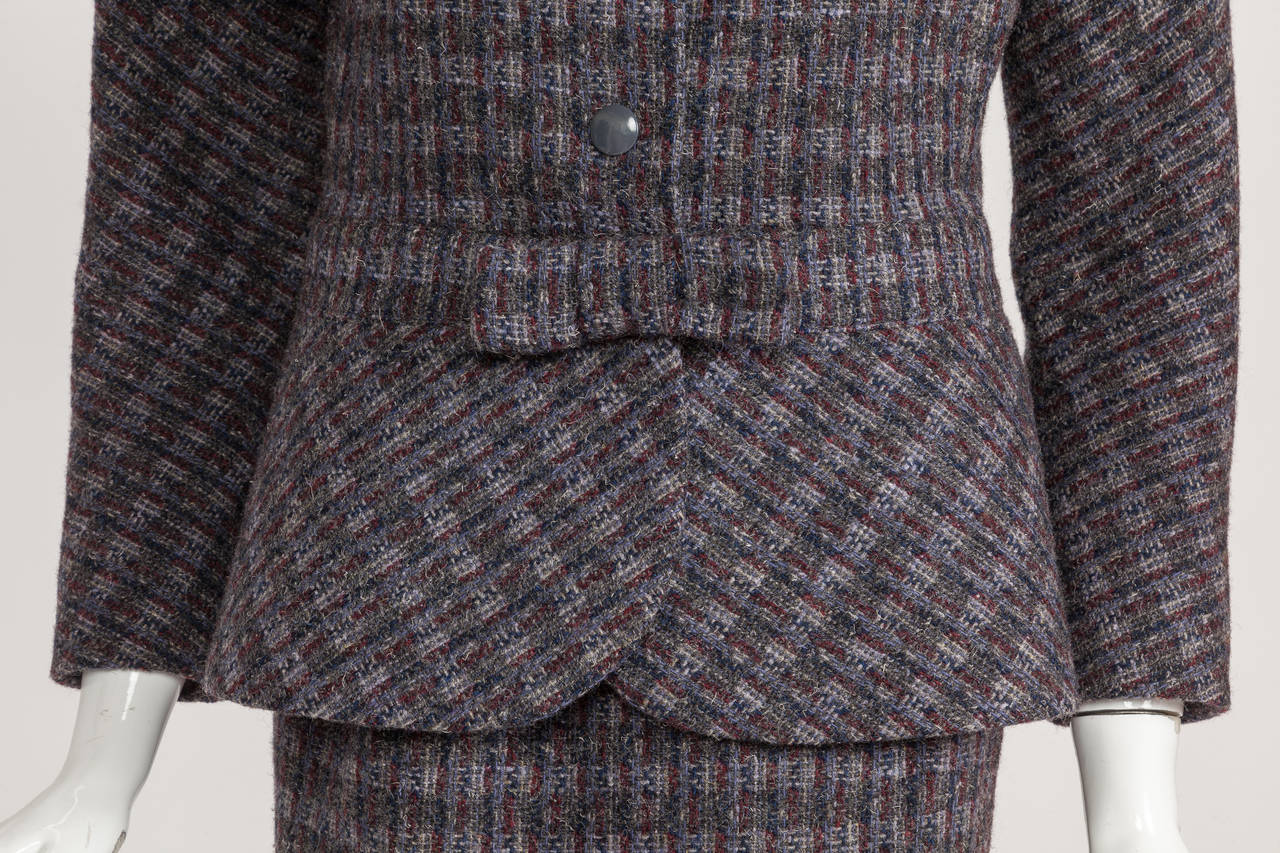 Pierre Cardin Tweed Jacket and Skirt Ensemble Suit w/Detachable collar ca. 1982 6