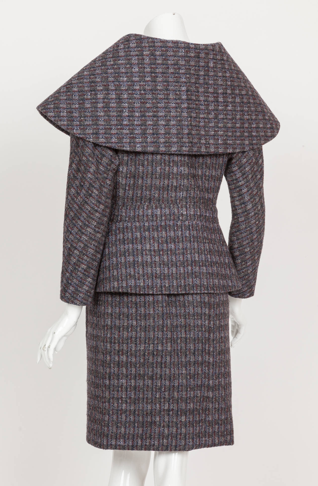 Pierre Cardin Tweed Jacket and Skirt Ensemble Suit w/Detachable collar ca. 1982 7