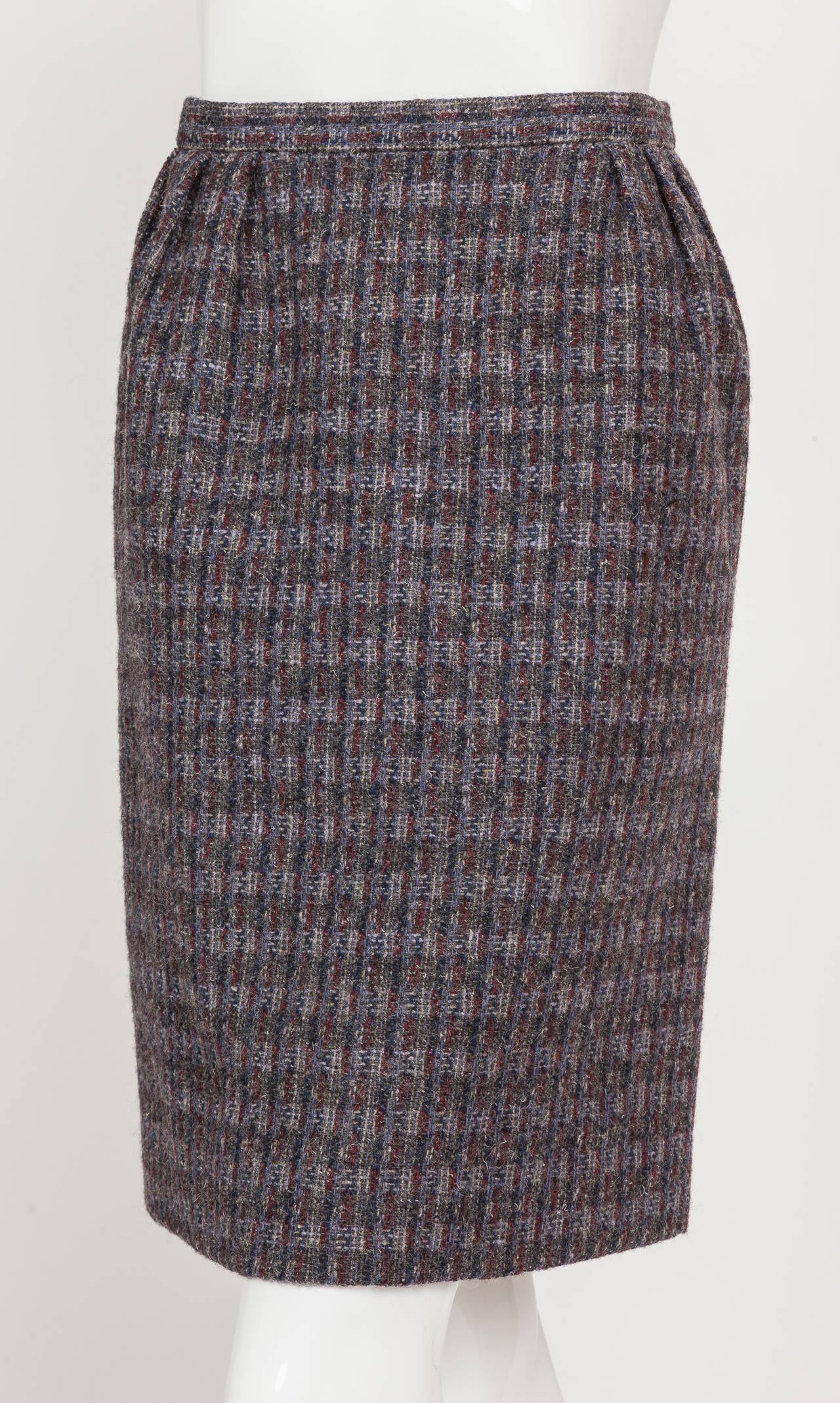 Pierre Cardin Tweed Jacket and Skirt Ensemble Suit w/Detachable collar ca. 1982 8