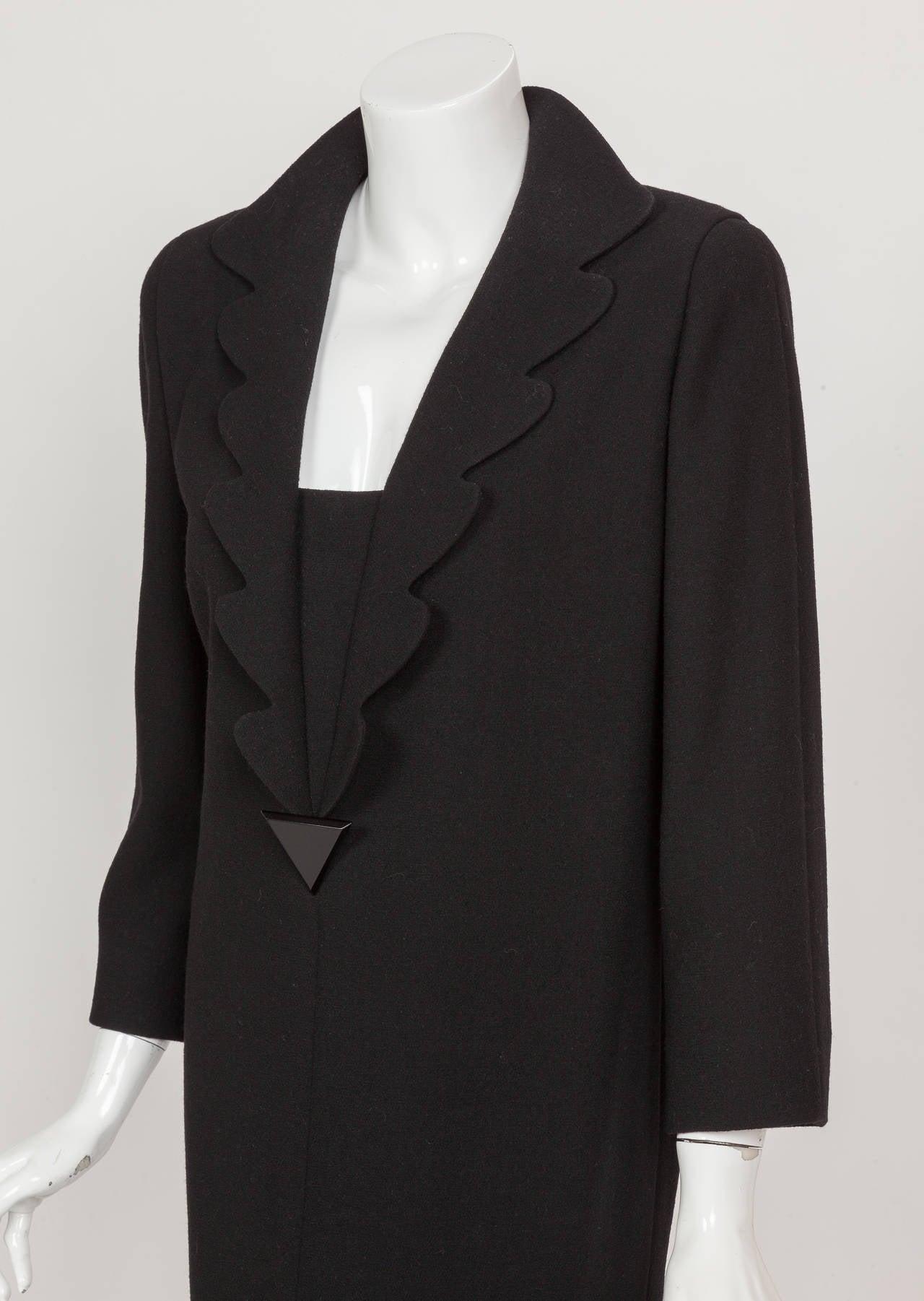 Pierre Cardin Haute Couture Wool Cocktail Dress w/Petalled Lapel ca. 1992 3