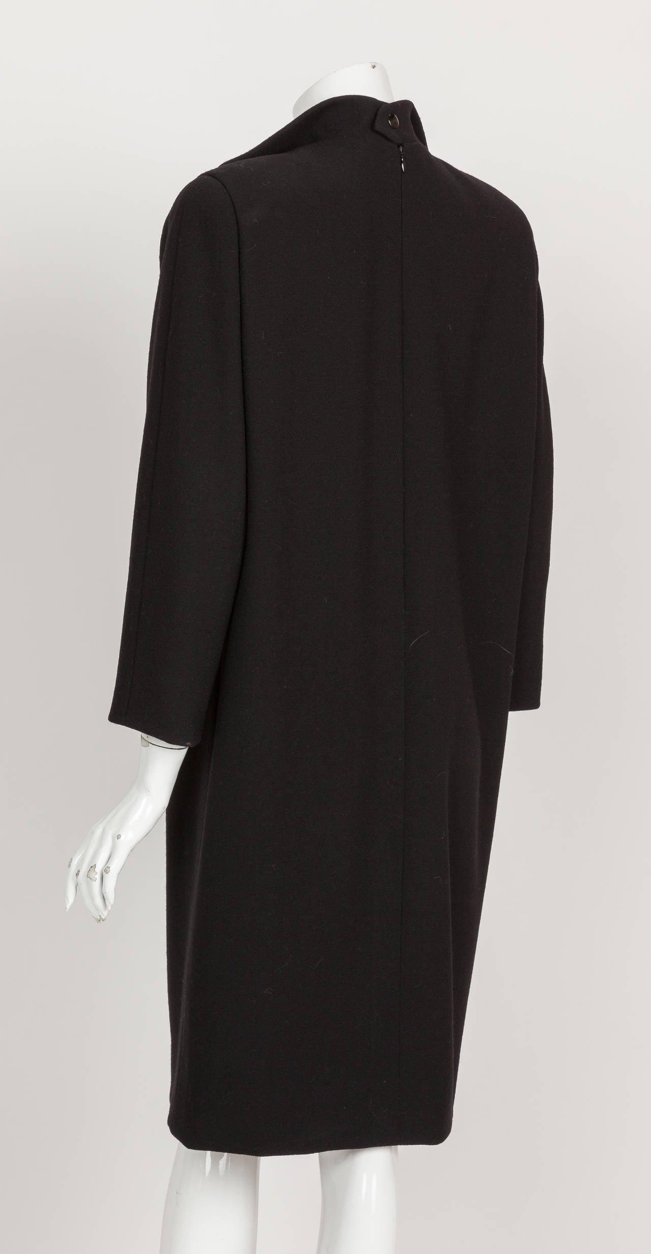 Pierre Cardin Haute Couture Wool Cocktail Dress w/Petalled Lapel ca. 1992 5