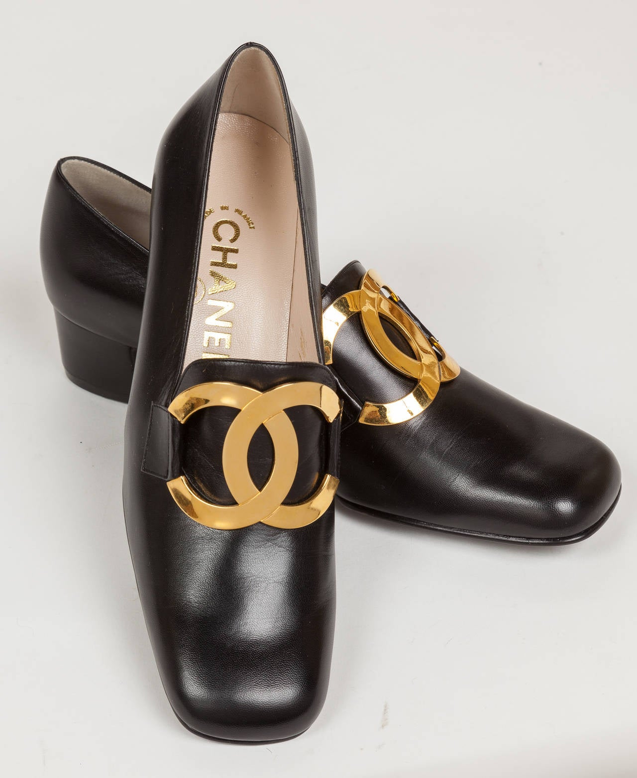 1996 NIB Chanel Black Leather Loafers Shoes W/Gold Metal CC Logo And Square Toe At 1stdibs