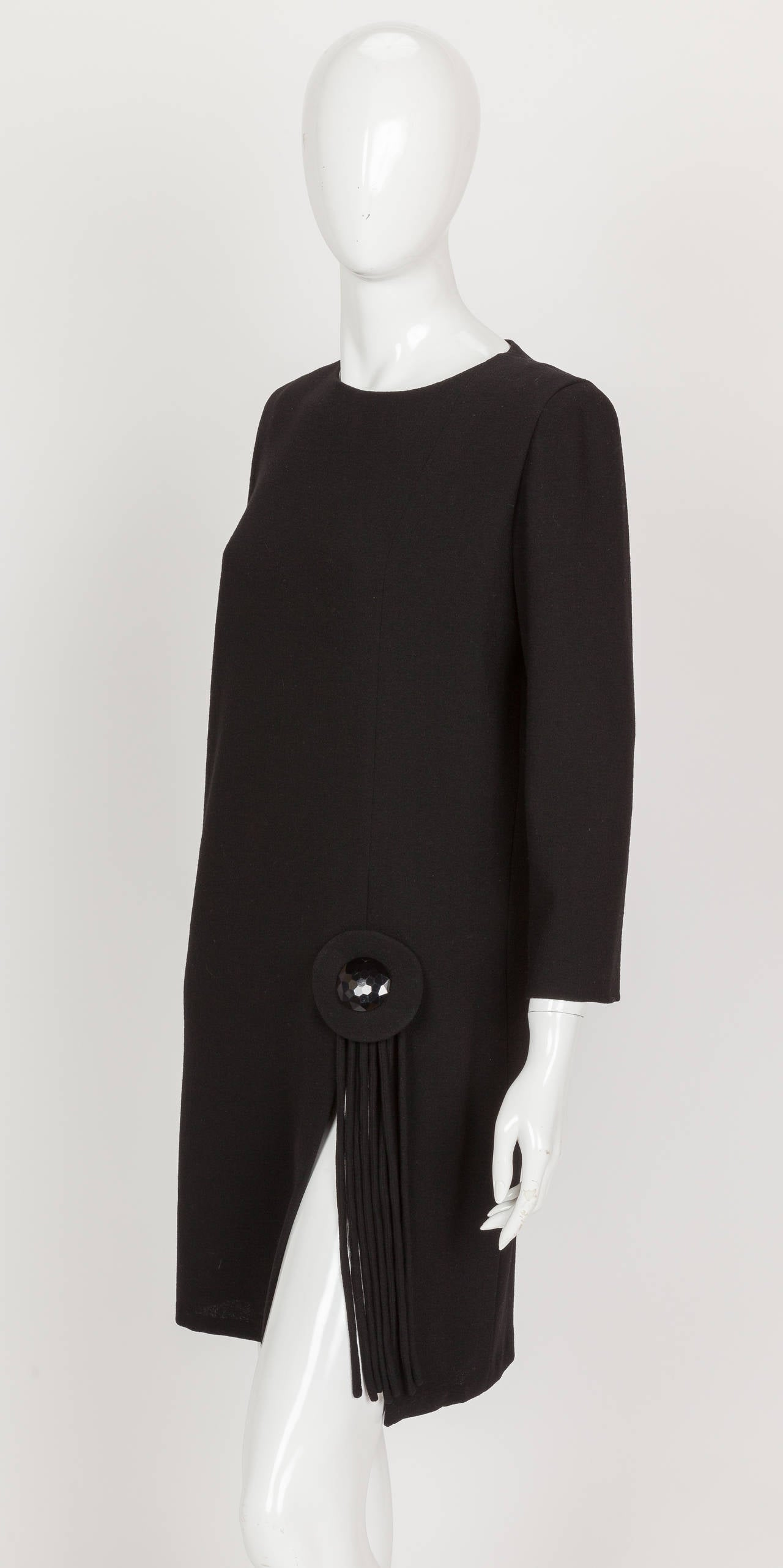 Pierre Cardin Haute Couture Black Wool Cocktail Dress w/Thigh High Slit ca. 1992 4