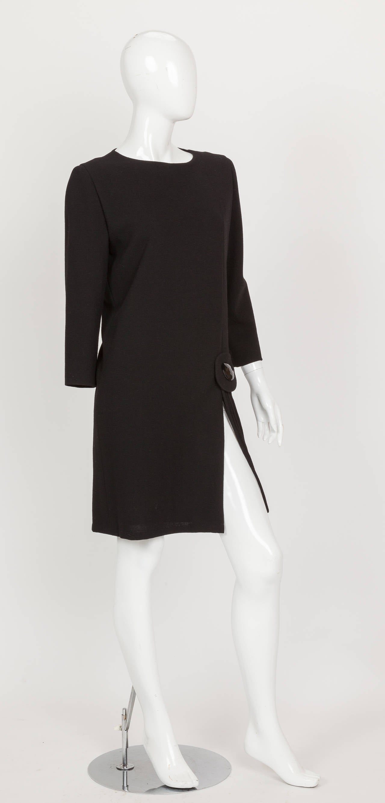 Pierre Cardin Haute Couture Black Wool Cocktail Dress w/Thigh High Slit ca. 1992 3