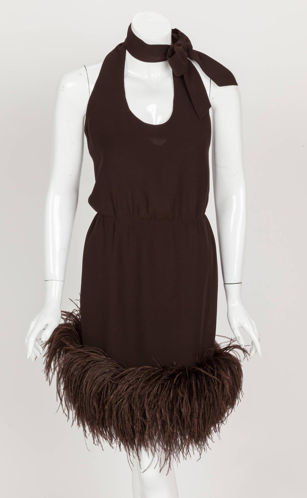 1960's Pierre Cardin Haute Couture Chiffon Cocktail Dress w/Ostrich Feather Trim 3