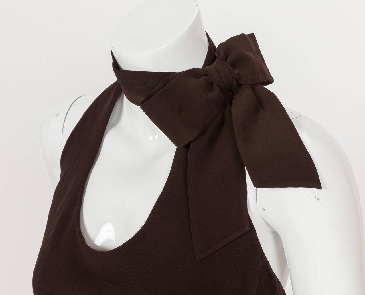 1960's Pierre Cardin Haute Couture Chiffon Cocktail Dress w/Ostrich Feather Trim 5