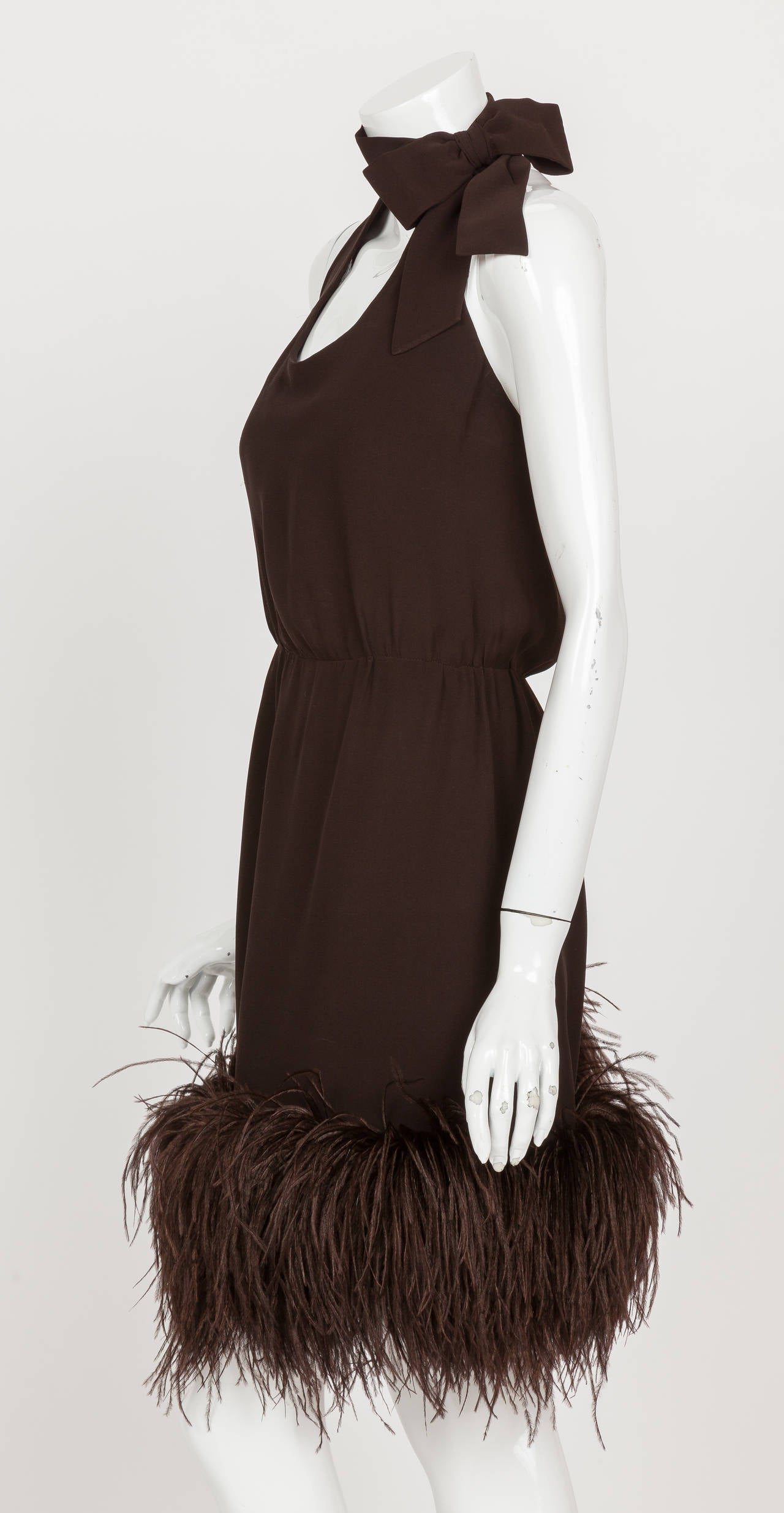 1960's Pierre Cardin Haute Couture Chiffon Cocktail Dress w/Ostrich Feather Trim For Sale 1