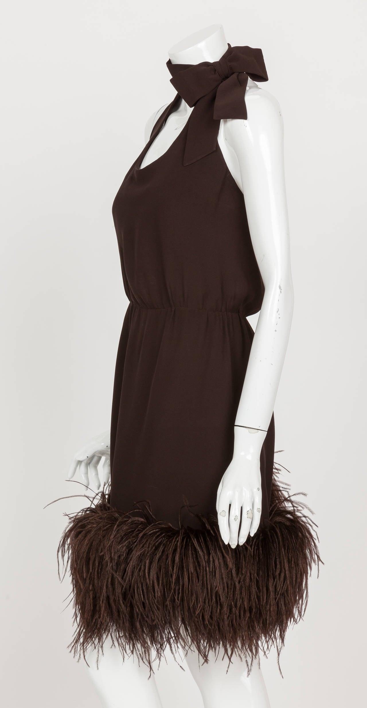 1960's Pierre Cardin Haute Couture Chiffon Cocktail Dress w/Ostrich Feather Trim 6