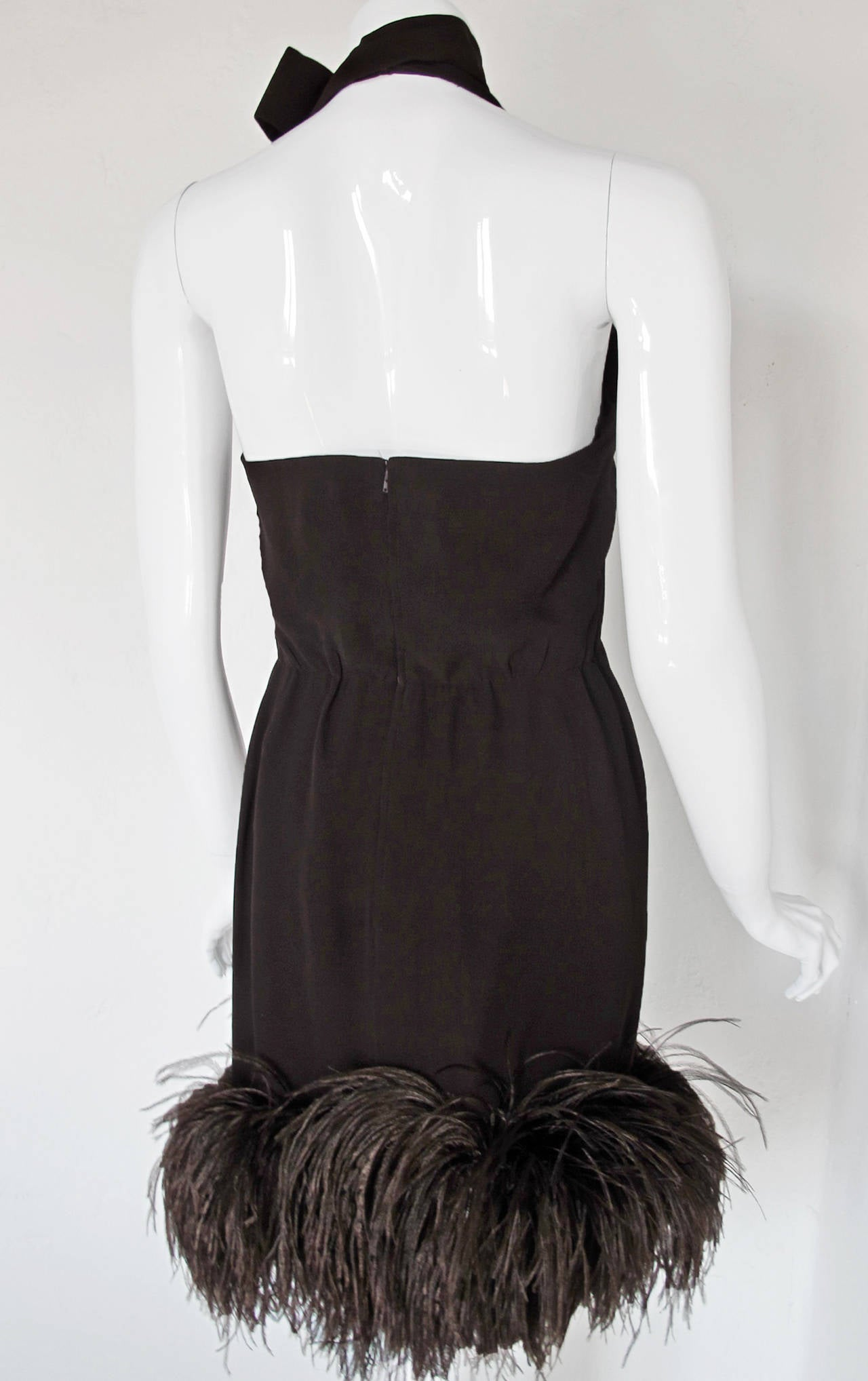 1960's Pierre Cardin Haute Couture Chiffon Cocktail Dress w/Ostrich Feather Trim For Sale 3