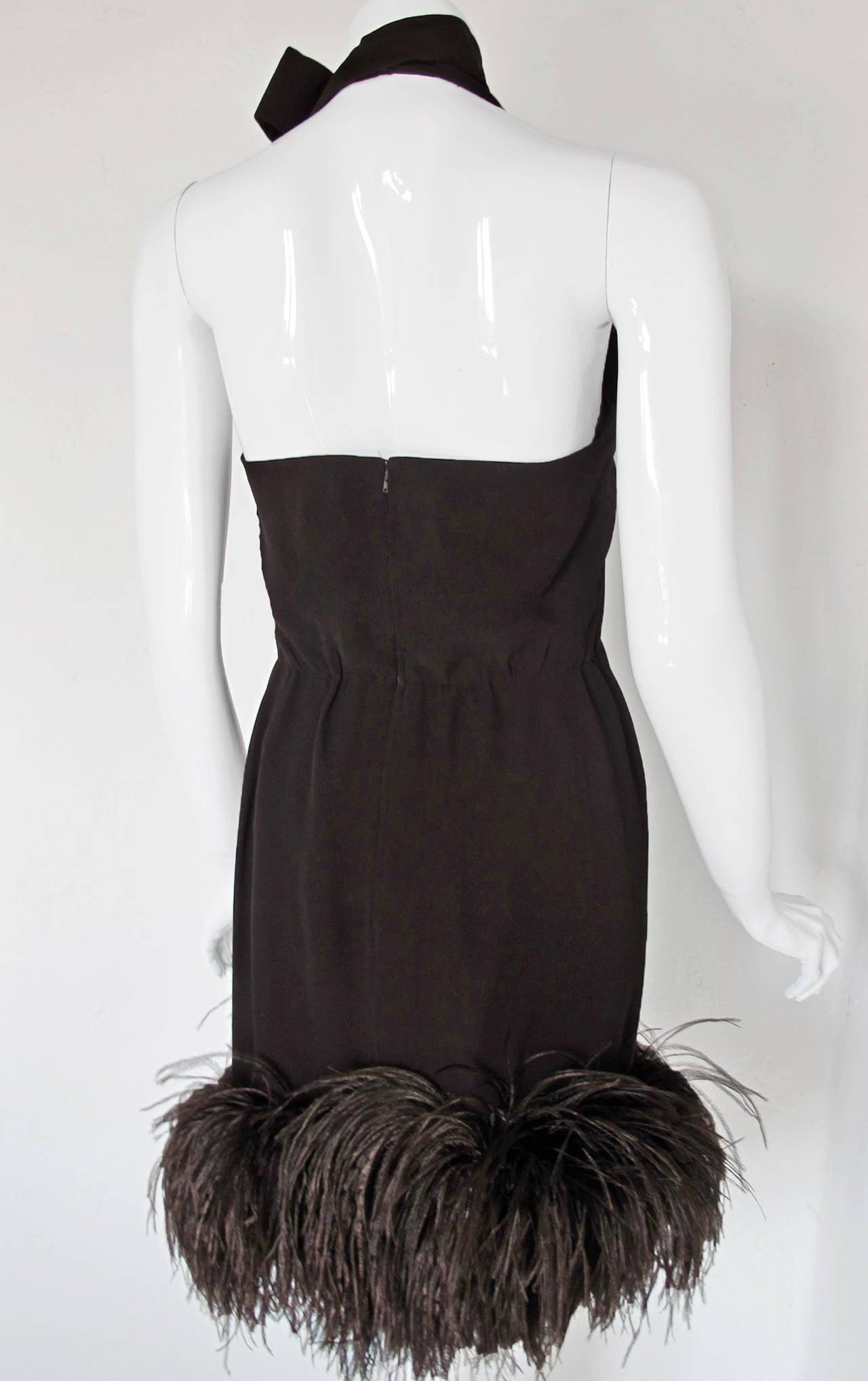 1960's Pierre Cardin Haute Couture Chiffon Cocktail Dress w/Ostrich Feather Trim 8