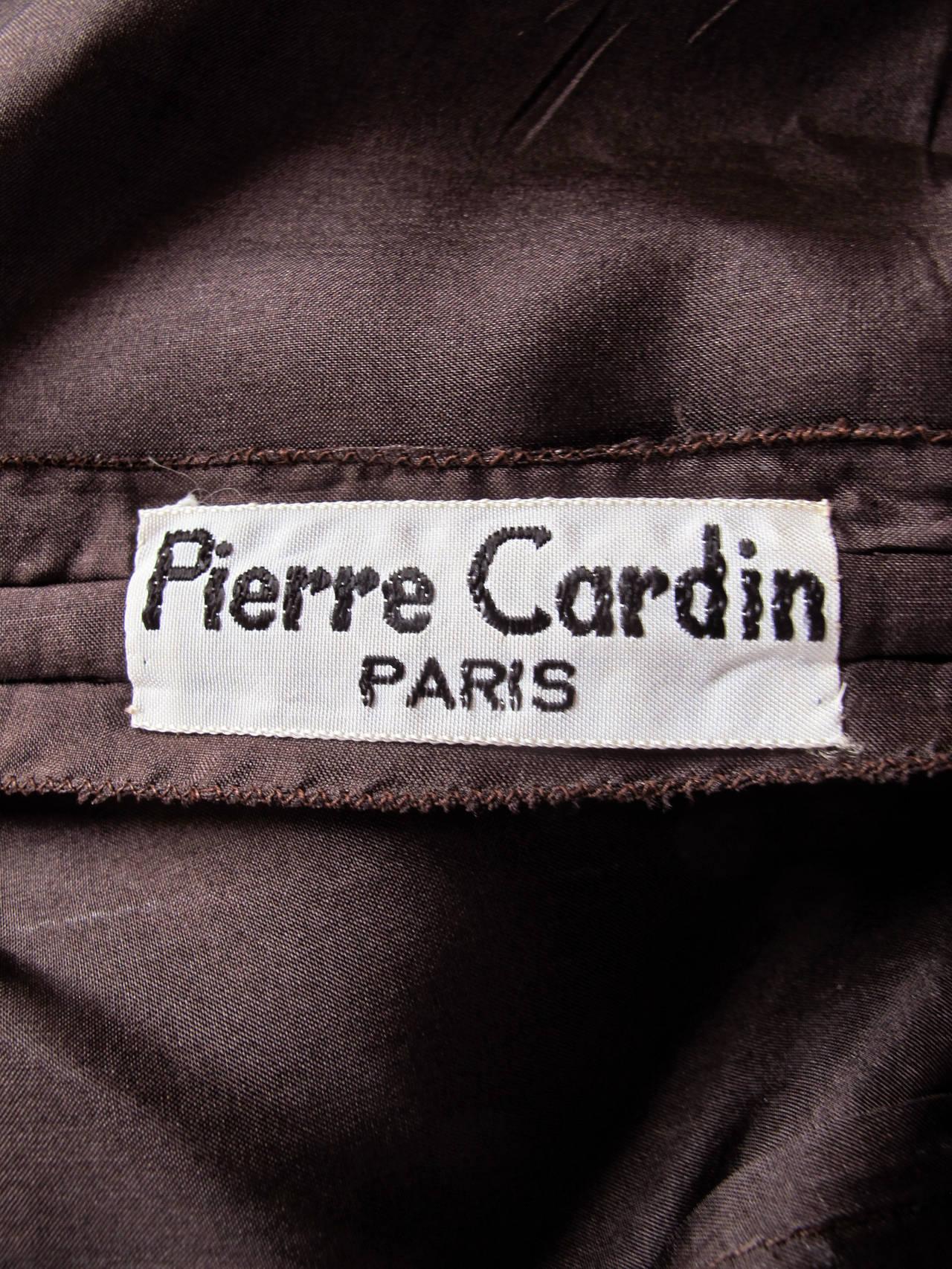 1960's Pierre Cardin Haute Couture Chiffon Cocktail Dress w/Ostrich Feather Trim 9