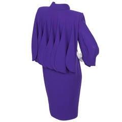 Rare Pierre Cardin Haute Couture Wool Cocktail Dress w/Geometric Design ca. 1992