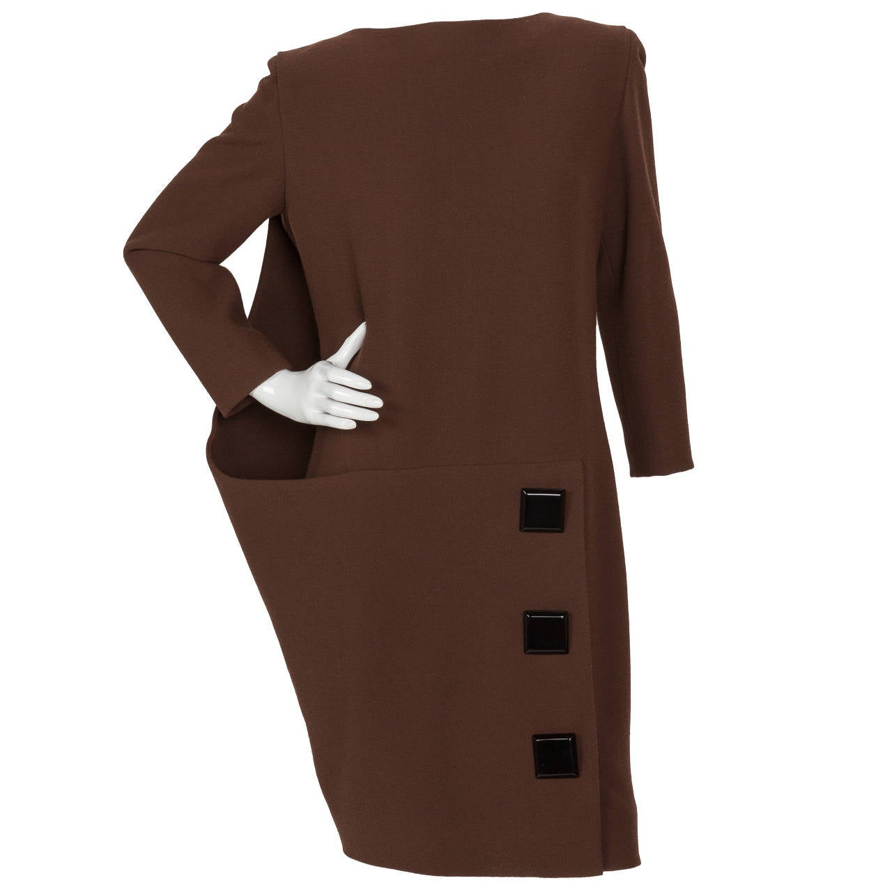 Avant Garde Pierre Cardin Haute Couture Asymmetric Wool Cocktail Dress ca. 1992
