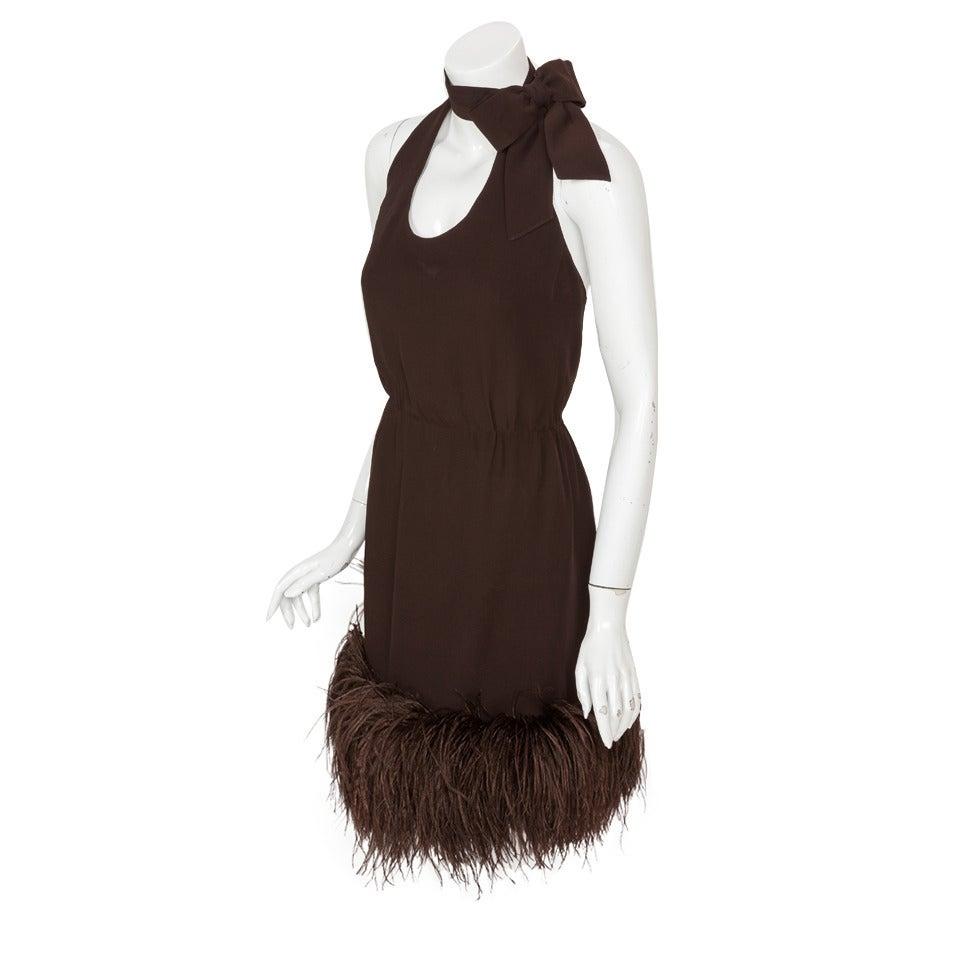 1960's Pierre Cardin Haute Couture Chiffon Cocktail Dress w/Ostrich Feather Trim 1