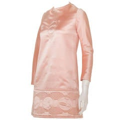 Pierre Cardin Space Age Pink Satin Mini Dress w/Circle Motif ca.1969