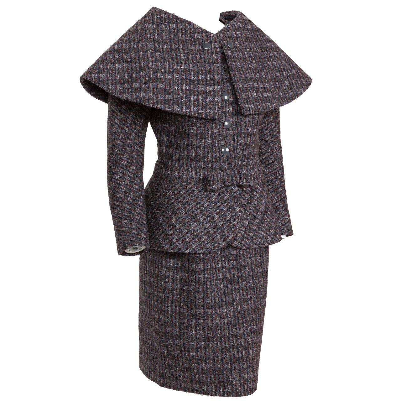 Pierre Cardin Tweed Jacket and Skirt Ensemble Suit w/Detachable collar ca. 1982 1