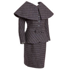 Pierre Cardin Tweed Jacket and Skirt Ensemble Suit w/Detachable collar ca. 1982