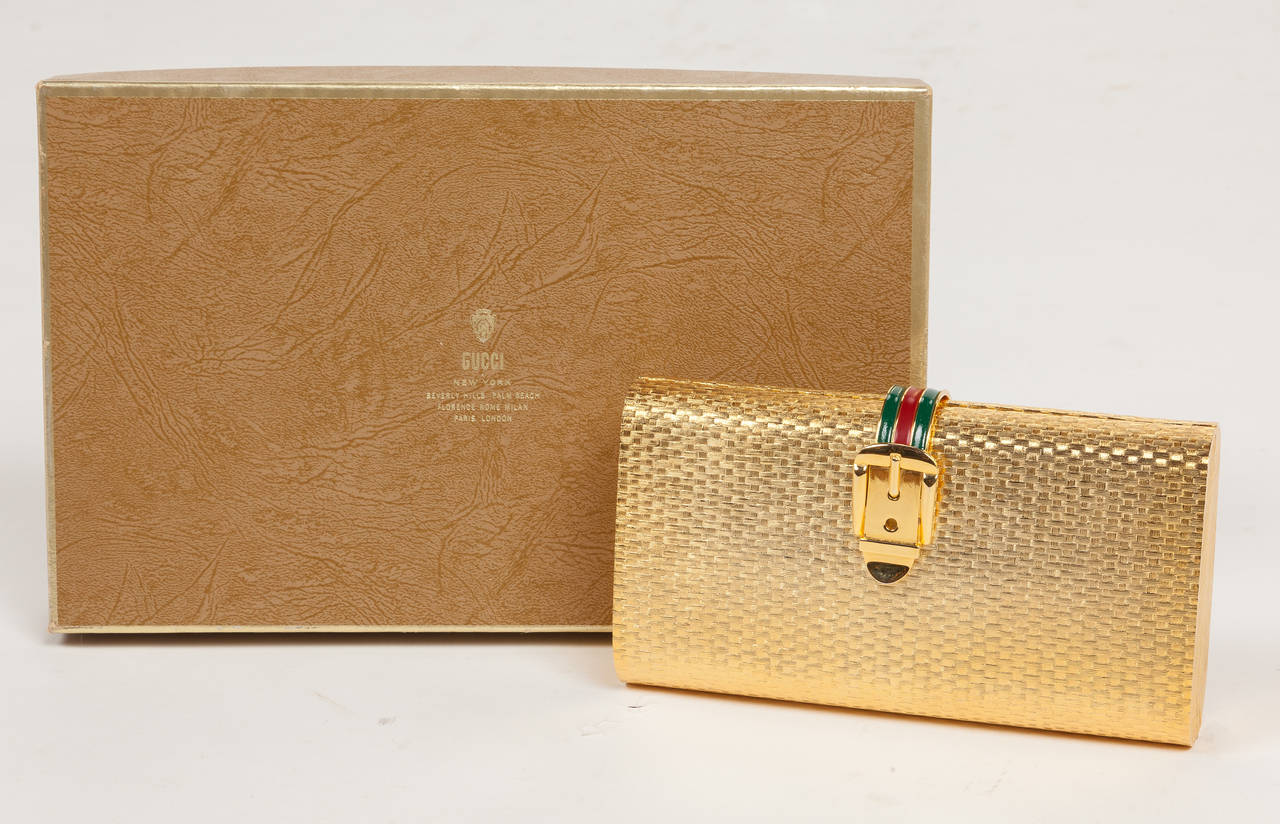 Iconic Gucci Gold Metal Minaudière Clutch w/Enameled Buckle Closure ca.1970s For Sale 2