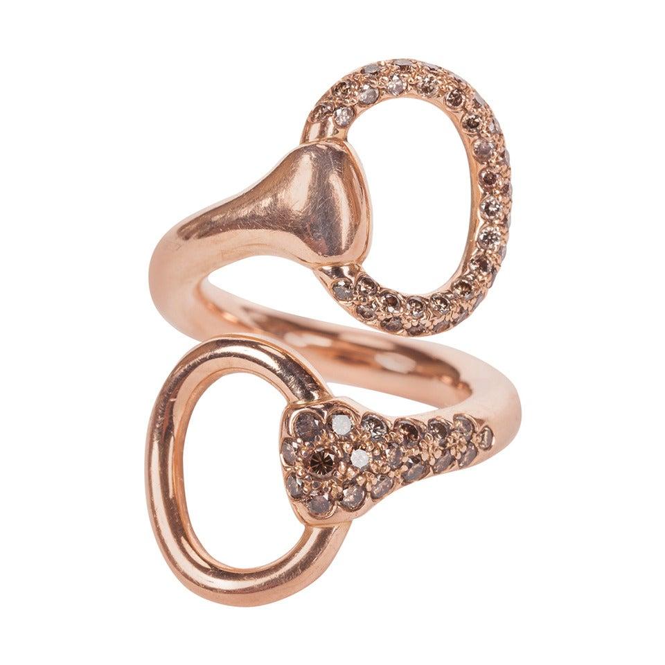 Hermes Rare Rose Gold and Brown Diamond Nausicaa Croisee Ring