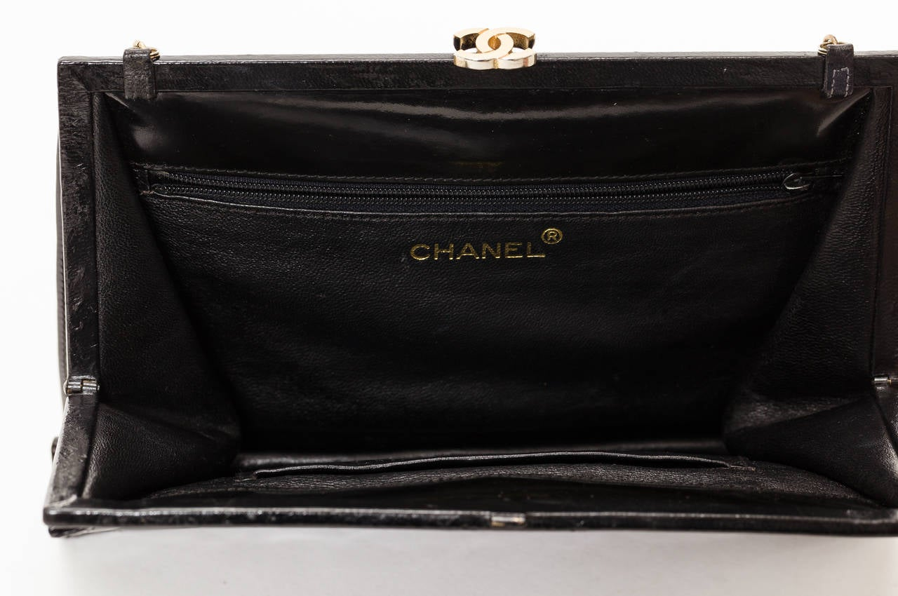 01c36a551ebb Women's 1970's Chanel Black Quilted Patent Leather Convertible Evening Bag w /Chain Strap For Sale