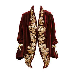 Iconic Romeo Gigli Velvet Cocoon Coat From Famed Orientalist Collection 1989-90