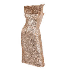 1950s Ceil Chapman Sequined Sleeveless Cocktail Wiggle Dress