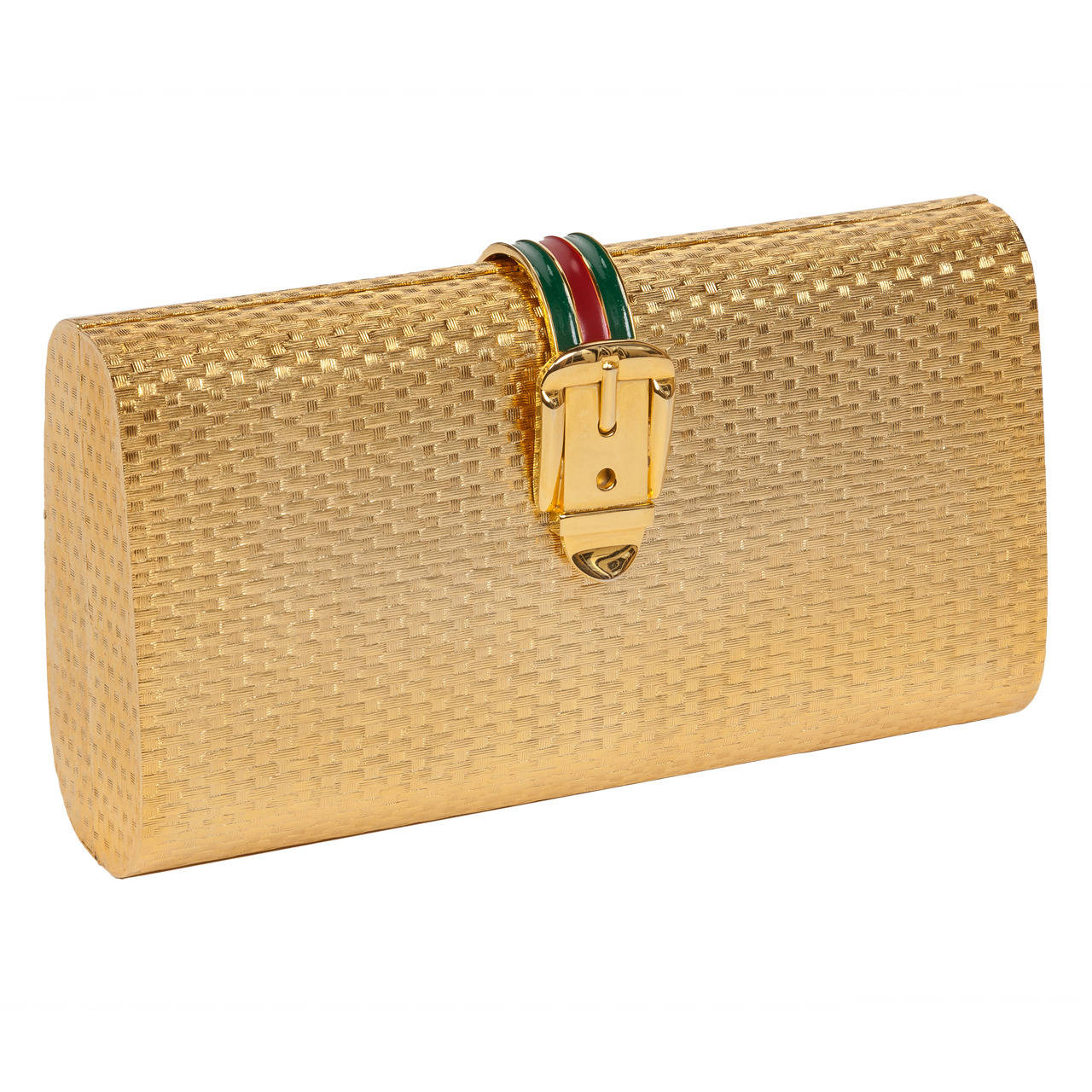 Iconic Gucci Gold Metal Minaudière Clutch w/Enameled Buckle Closure ca.1970s For Sale