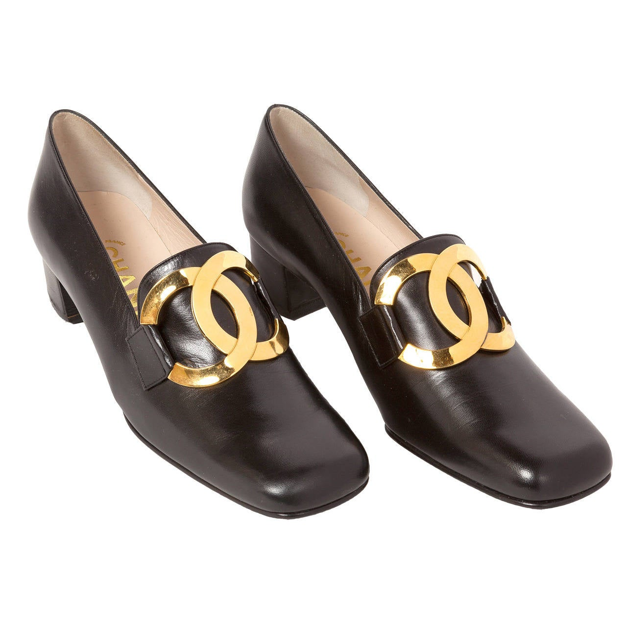 1996 Nib Chanel Black Leather Loafers Shoes W Gold Metal