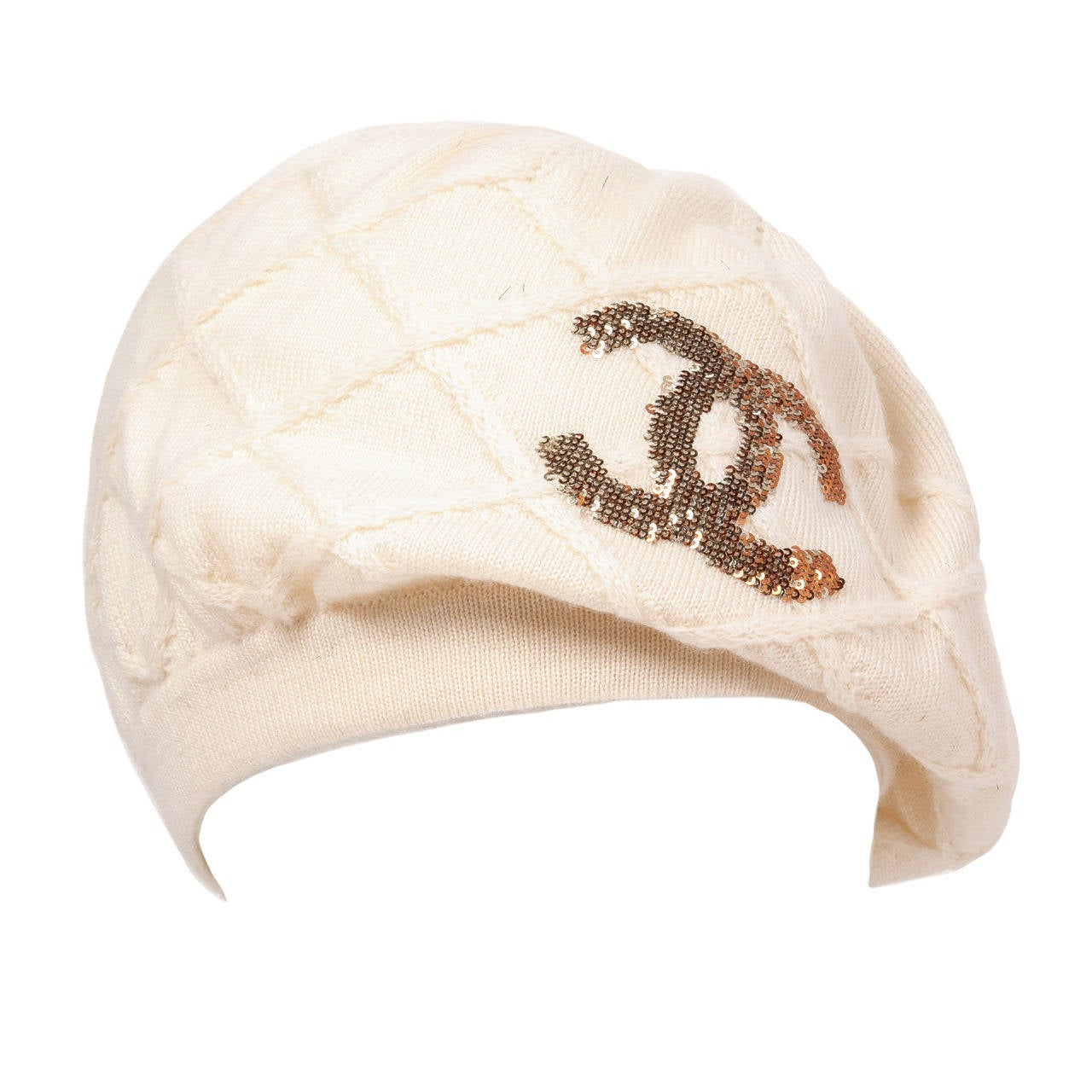 Chanel 100% Cashmere Beret Hat w/CC Logo in Gold & Bronze Sequins For Sale