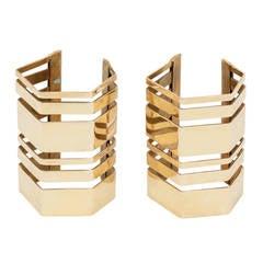 Vintage Unsigned Romeo Gigli Oversize Brass Cuff Bracelet Pair