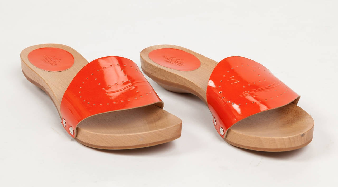 Hermès Patent Leather Slide Sandals