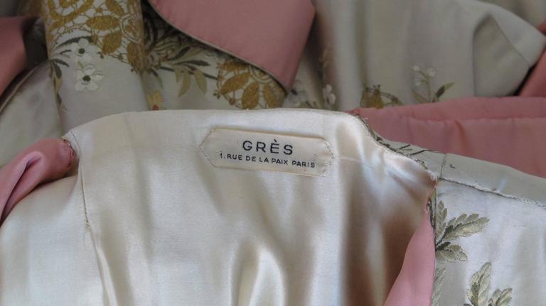 Madame Gres Haute Couture Silk Satin Embroidered Kimono Evening Dress Ca.1960 7