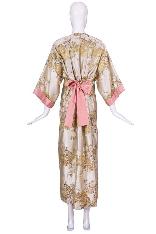 Madame Gres Haute Couture Silk Satin Embroidered Kimono Evening Dress Ca.1960 For Sale 1
