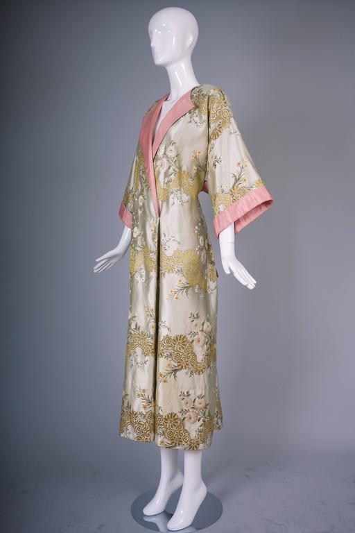 Madame Gres Haute Couture Silk Satin Embroidered Kimono Evening Dress Ca.1960 5