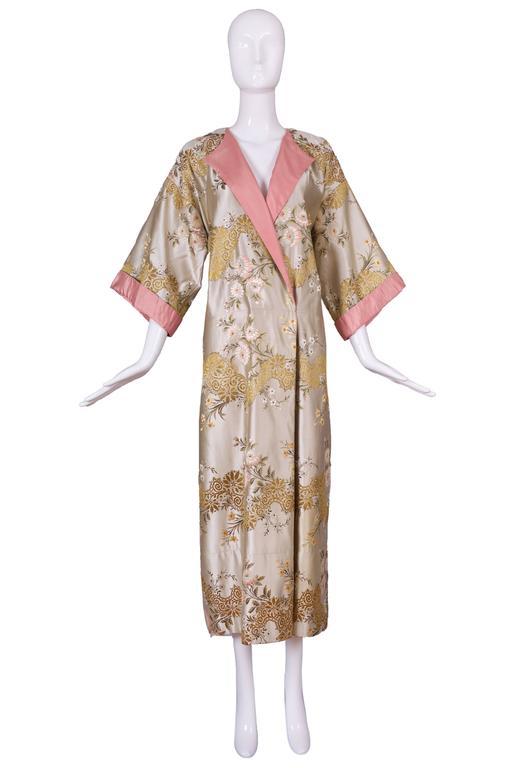 Madame Gres Haute Couture Silk Satin Embroidered Kimono Evening Dress Ca.1960 3