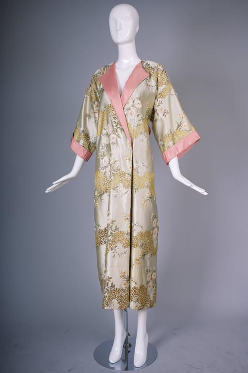 Madame Gres Haute Couture Silk Satin Embroidered Kimono Evening Dress Ca.1960 In Good Condition For Sale In Los Angeles, CA