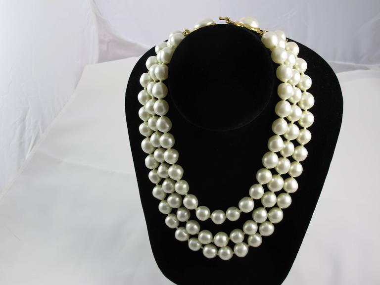1970's Chanel Triple Strand Oversize Faux Pearl Necklace Choker  2