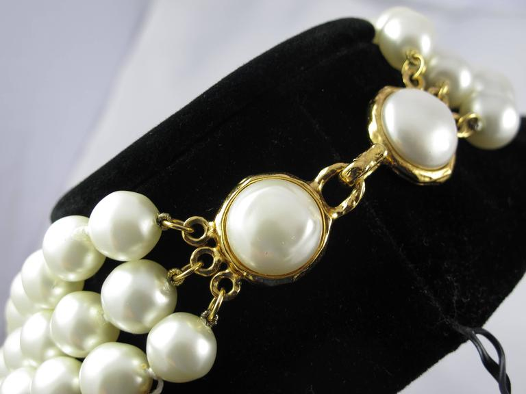 1970's Chanel Triple Strand Oversize Faux Pearl Necklace Choker  3
