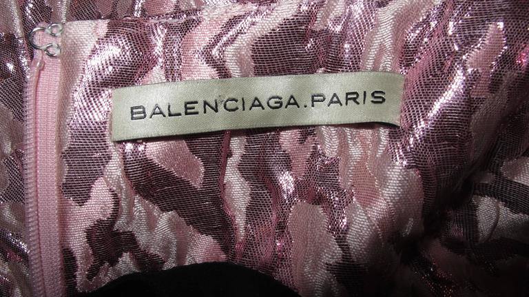 Balenciaga Sleeveless Metallic Pink Abstract Print Cocktail Mini Dress 5