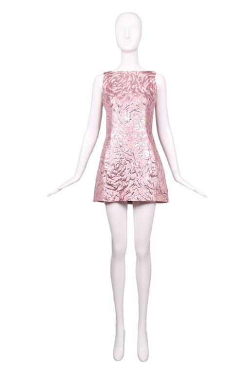 Balenciaga Sleeveless Metallic Pink Abstract Print Cocktail Mini Dress 3