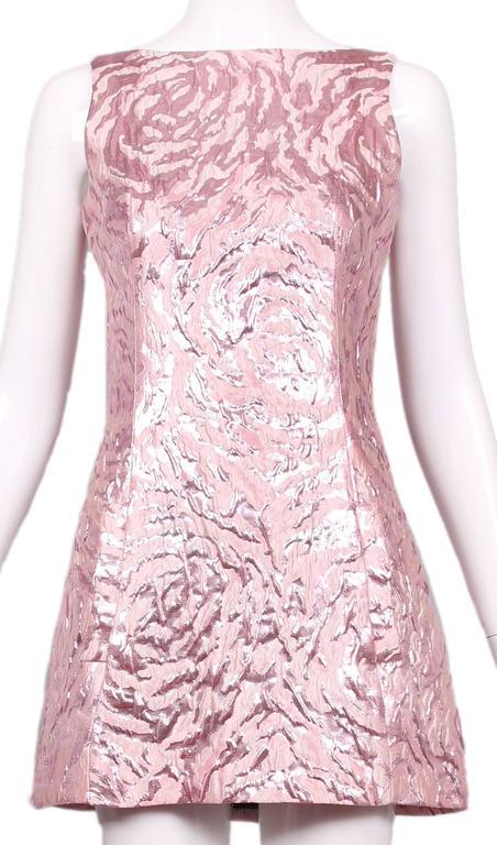 Balenciaga Sleeveless Metallic Pink Abstract Print Cocktail Mini Dress 2