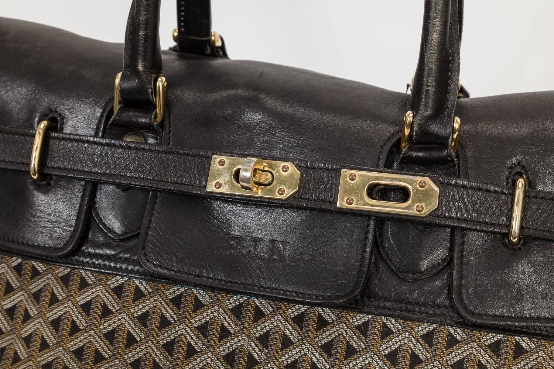 7ba9cea541e Vintage Oversized Goyard Travel Bag Tote w Gold Tone Hardware and Monogram  at 1stdibs