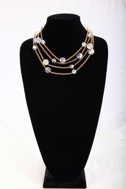 Chanel Gold Tone Chain & Faceted Crystal Bead Necklace Sautoir Ca.1993 4
