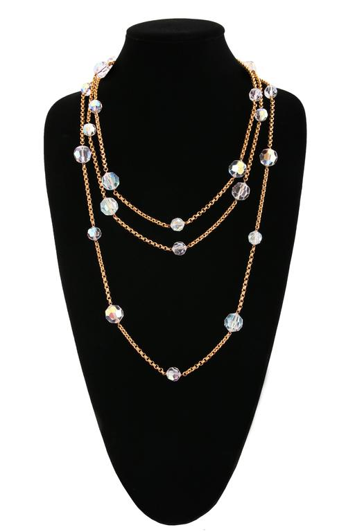 Chanel Gold Tone Chain & Faceted Crystal Bead Necklace Sautoir Ca.1993 2