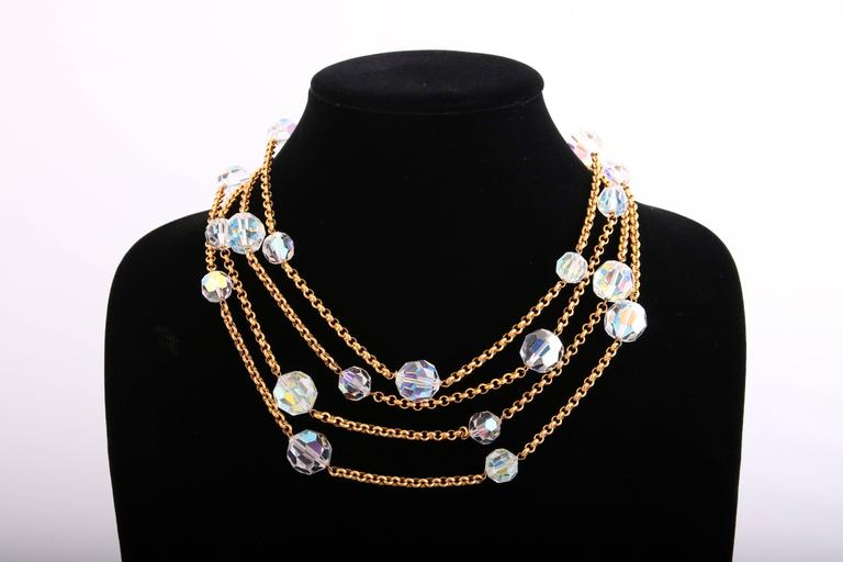 Chanel Gold Tone Chain & Faceted Crystal Bead Necklace Sautoir Ca.1993 3